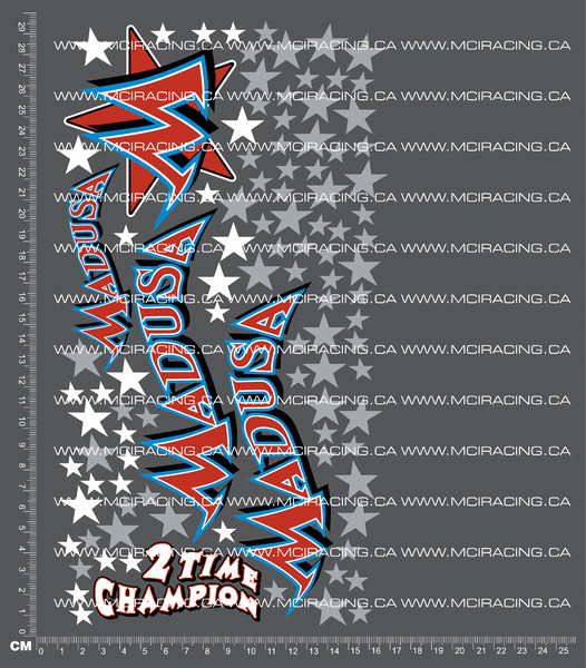 CPE-MADUSADECALb:  Madusa Decal Sheet - Red/Wht/Blue