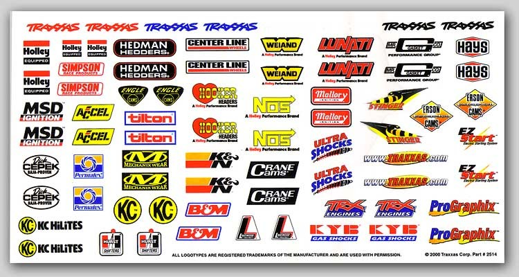 CPE-TRX2514:  Traxxas Sponsor Decal Sheet
