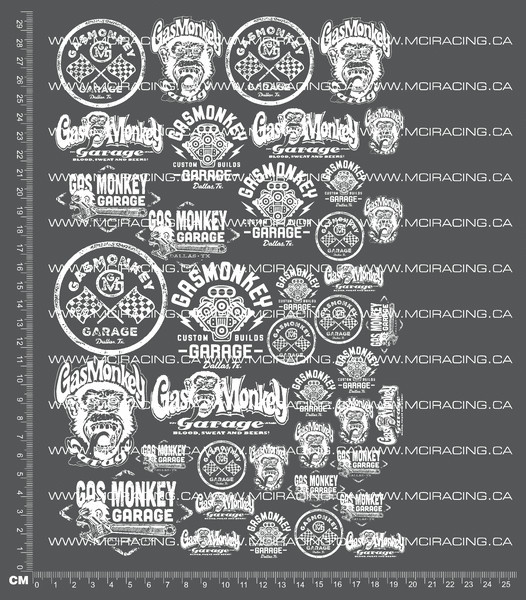 CPE-GASMONKEYDECALv1:  Gas Monkey Garage Decal Sheet v1